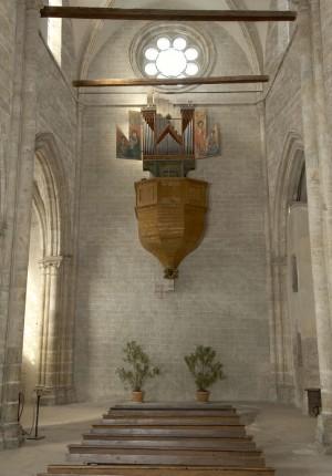 Photomontage de la travée occidentale de la nef après restitution du décor médiéval  © amsler & gagliardi architectes sàrl