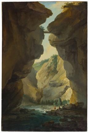 Caspar Wolf (1735-1783), Le Pont et les gorges de la Dala, vue en amont, vers 1774-77, huile sur toile, 82.5 x 54.2 cm, Musée d'art du Valais, Sion, inv. BA 343, achat en 1950