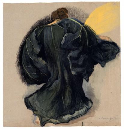 Marguerite Burnat-Provins, Femme à la feuille de courge, 1902, fusain, pastel, craie, aquarelle et gouache sur papier de couleur, 52.5 x 49.5 cm, Musée d'art du Valais, Sion, inv. BA D 725, achat en 1970