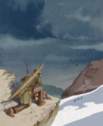 Le Schnidejoch vers 2700 av. J.-C. © Musée d'histoire du Valais, Sion; dessin Ambroise Héritie